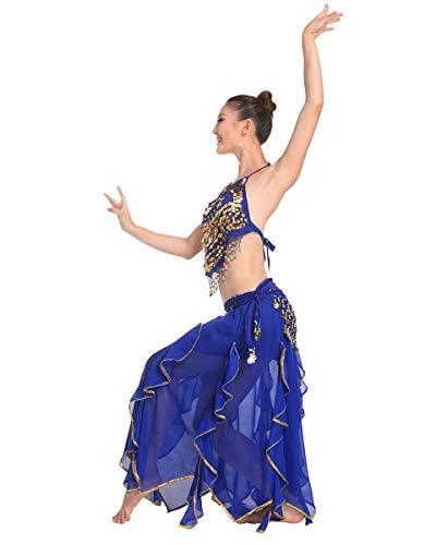 Grouptap Bollywood blau asiatischen indischen arabischen Jasmin Bauchtanz Kleid Kostüm 2-teilige Neckholder Top Rock Phantasie sexy Frauen Outfit (Blau, 150-175 cm, 40-70 kg)
