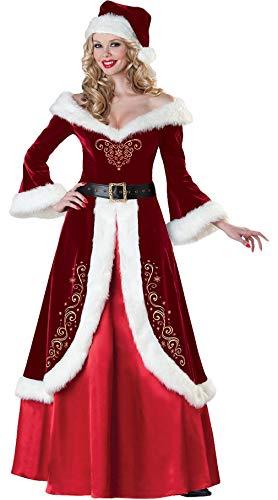 Cloud Kids 3 teiliges Damen Weihnachtsmann Kostüm Nikolaus Kostüm Weihnachtskleid Verkleidung (XX-Large)