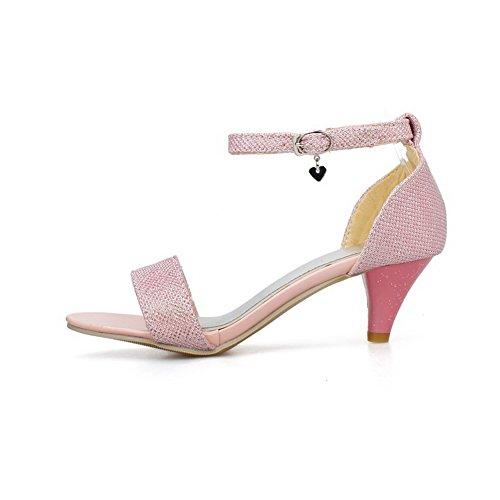 AllhqFashion Damen Schnalle Offener Zehe Mittler Absatz Blend-Materialien Rein Sandalen Pink