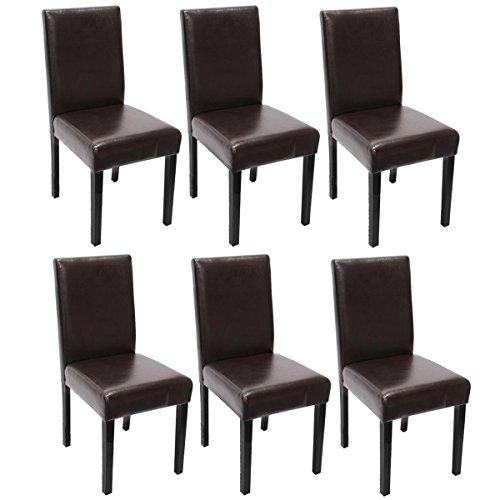 Lot de 6 chaises de séjour Littau, cuir reconstitué marron, pieds foncés