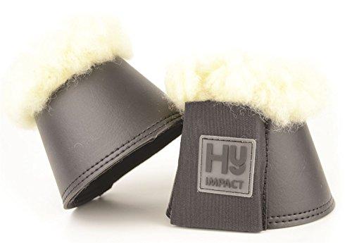 HyIMPACT Hufglocken mit Lammfell für Ponys und Pferde, bestens geeignet für Training und Aufwärmen, paarweiser Verkauf, Größen S-XL, Nr. 1177P, grau, S