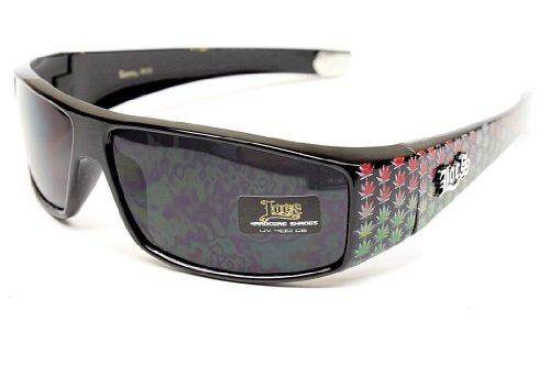 Locs Rasta Gangster Thug Biker Vintage Retro Sonnenbrille LC 50 (, Uv400) uv400 schwarz