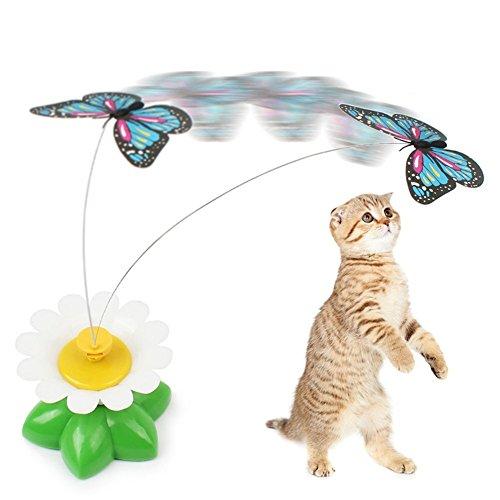Anano - Juguetes interactivos para gatos con diseño de mariposas y pájaros, con mariposa giratoria eléctrica para jugar a gatos o cazar