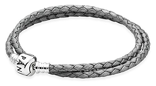 Damen-Armband 925 Silber Leder 35 cm - 590705CSG-D1