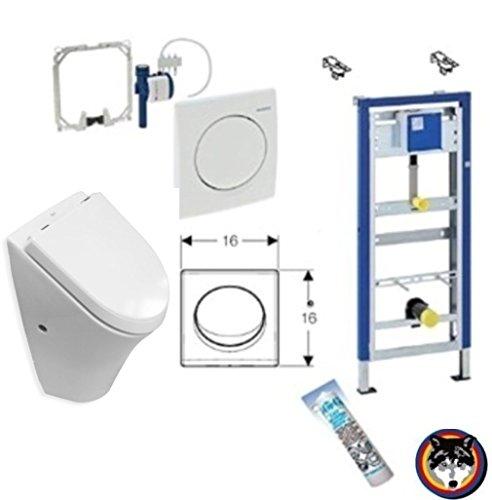 Urinal Komplett-Set: Geberit DuofixBasic, Roca Nexo Urinal, Samba Betätigungsplatte