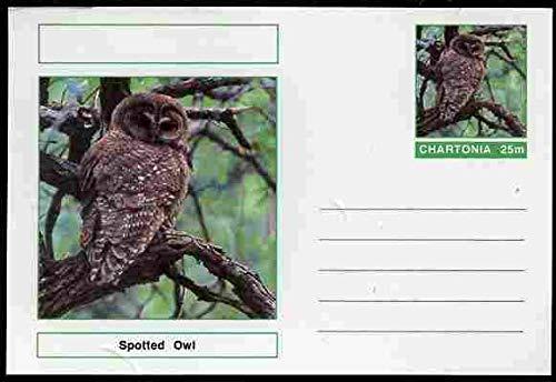 Chartonia (Fantasy) Birds - Spotted Owl (Strix occidentalis) postal stationery card unused and fine BIRDS BIRDS OF PREY OWLS JandRStamps - Spotted Bird