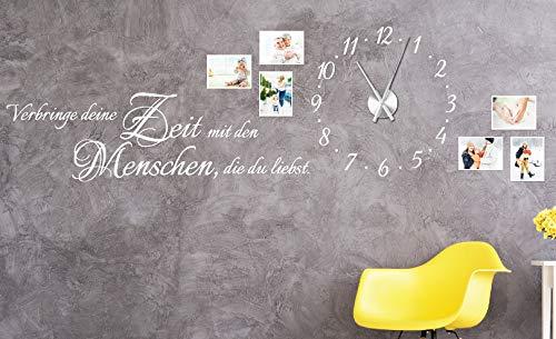 tjapalo® w-pkm275 150x58cm Wandtattoo Wohnzimmer Familie Wanduhr Wandtattoo Uhr mit Uhrwerk verbringe deine Zeit mit Menschen die du liebst (Wandtattoo Mit Uhr)