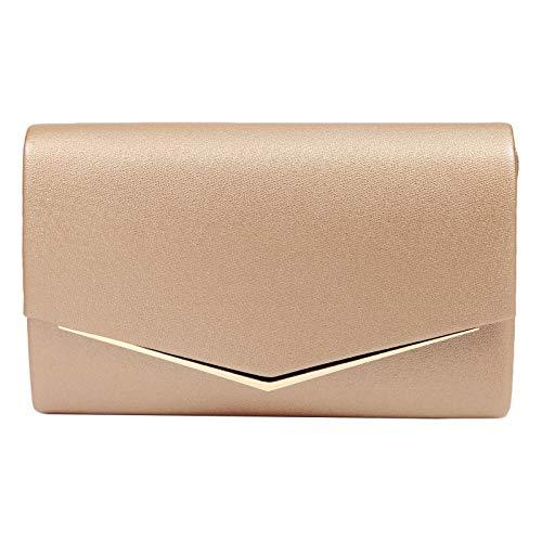 Anladia Elegante Abendtasche im Envelope Kuvert Design Dame Umhängetasche Envelope Handtasche Clutch Tasche mit abnehmbarer Kette - Satin Damen Abend Tasche