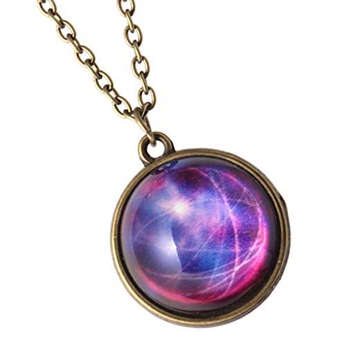 fish Frauen Luminous Star Universe Glaskugel Halskette Glow in The Dark Planet-Strickjacke-Kette Tag Geschenk Schmuck