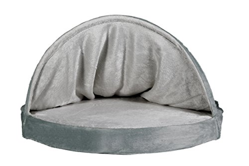 Furhaven Pet Dog Bed   Cooling Gel Memory Foam Orthopedic Round Microvelvet Snuggery Pet Bed for Dogs & Cats, Gray, 26… 3