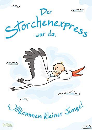 Willkommen Baby - Junge (Poster DIN A2). Das Begrüßungs-Plakat mit Storch nach der Geburt eines Jungen/eines Sohnes. Herzlich willkommen zu Hause Mama und Kind.