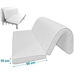 Baldiflex Materasso per divano letto Brio Pronto Letto, con piega su seduta, ortopedico, ergonomico, anallergico, 120x190x10cm