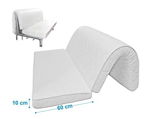 Baldiflex Materasso per divano letto Brio Pronto Letto, con piega su seduta, ortopedico, ergonomico, anallergico, 160x190x10cm