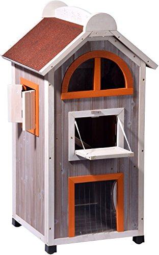 """dobar 55018FSC Großes Katzenhaus \""""Fancy Cat\"""" aus Holz für draußen/drinnen, Katzenturm mit 6 Öffnungen und Hängematte, XL, grau/orange/weinrot"""