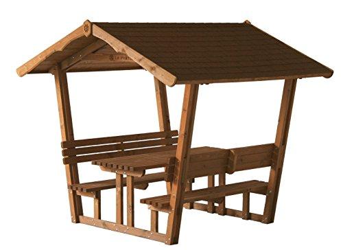 Gazebo in legno da giardino, con Panche e Tavolo, Imbermeabile, Comodo e Sicuro
