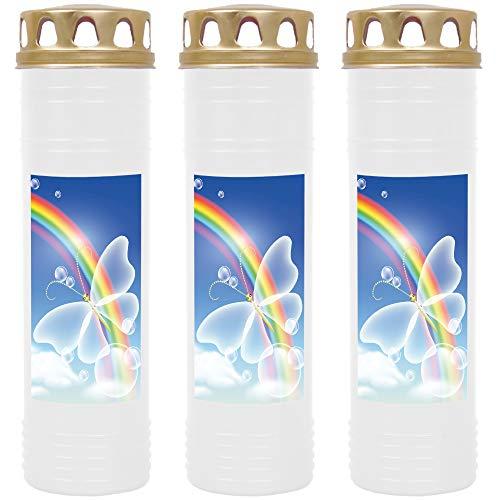 HScandle Grabkerze - 3er Pack - (Weiß) ca. 7 Tage Brenndauer je Kerze - Motiv: Regenbogen 2