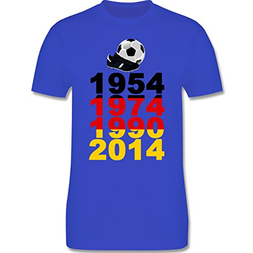 Fußball - 1954, 1974, 1990, 2014 - WM 2014 Weltmeister Deutschland - Herren Premium T-Shirt Royalblau