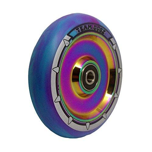 einzeln Team Dogz 100mm & 110mm UFO hohl Kern Roller Rad ABEC11 passt auch für MGP Stumpf Slamm Rasiermesser Crisp Körnung usw. - Rainbow weiß blau / Lila Mix Kunststoff, 100mm Paar 100 Mm Roller Räder