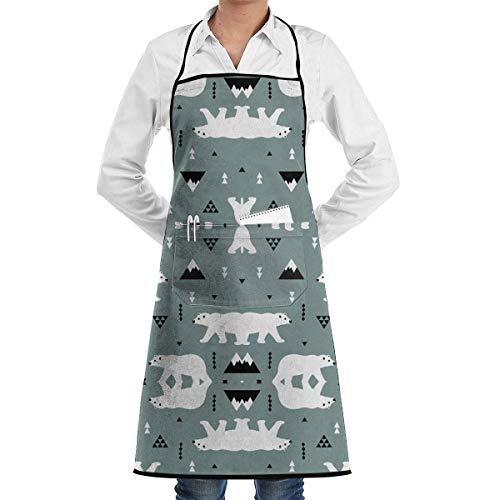 Bear Kostüm Cute Polar - Drempad Schürzen Cute Polar Bear Blue Gray Adjustable Bib Apron with Pockets for Women Men Chef, Black