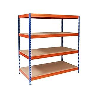 Office Marshall Steckregal Metallregal Lastenregal - 1500 kg Gesamttraglast | für Garage, Keller, Werkstatt | TÜV-geprüft | Viele Größen und Farben (blau-orange, 120x220x60 cm)