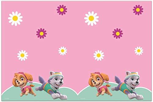 Procos 90278 Tischdecke Paw Patrol-Skye & Everest aus Plastik, rosa, grün