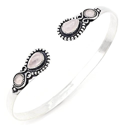 mantraroma Armreif Armband versilbert silbern Rosenquarz rosa (922-05-026-07)