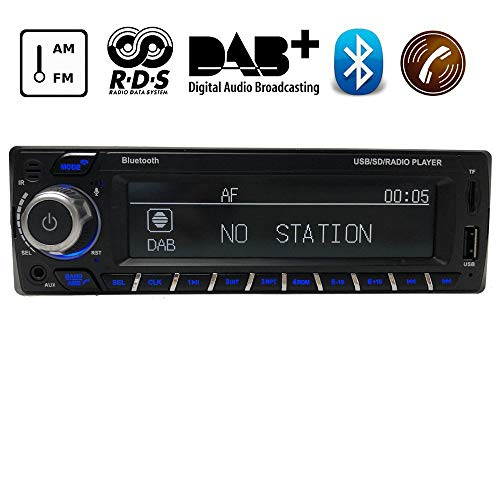 CZWXCD 12V Bluetooth Autoradio DAB + Empfänger 1 Din Autoradio Stereo Unterstützung AM FM RDS USB SD mit DAB-Antenne Am Stereo-antenne