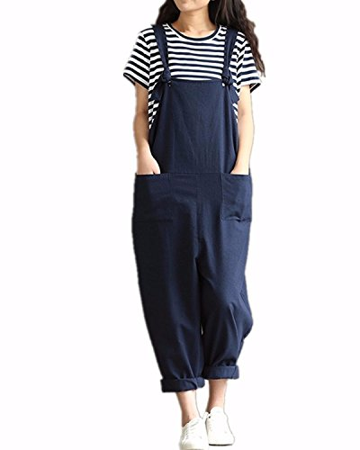 Styledome Women's Retro Loose Casual Baggy Sleeveless Overall Long Jumpsuit Playsuit Trousers Pants Dungarees Test