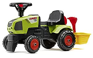 Falk 1012A Children's Ride-On Vehicle Claas Axos Tractor with Bucket and Accessories