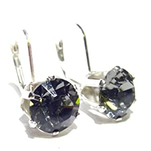 Large Sterling Silver Lever back earrings set with sparkling Black Diamond (clear charcoal grey) Swarovski Diamond Cut crystal stones. Gift Box.