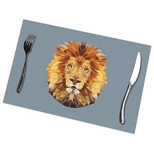 Dimension Art Edgy Lion Placemats Set of 4 for Dining Table Washable Polyester Placemat Non-Slip Wear and Heat Resistant Kitchen Table Mats Easy to Clean