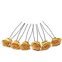 Juego de 6 pines en forma de U para el pelo, diseño de rosa, accesorio para dama de honor