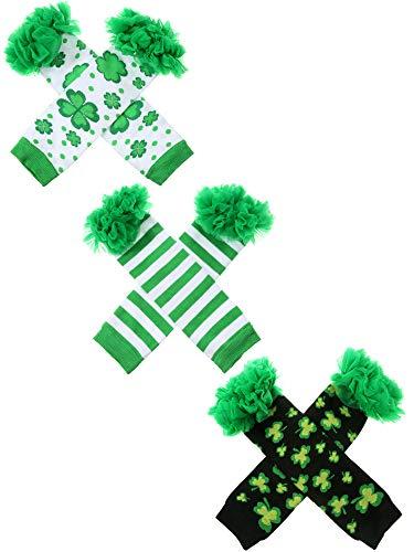 Zhanmai 3 Paar St. Patrick's Day Beinlinge Shamrock Ohne Fuß Socken Party Kostüm Zubehör für Baby Kleinkinder (Stil Set 2) (St Patrick's Day Kostüm Babys)