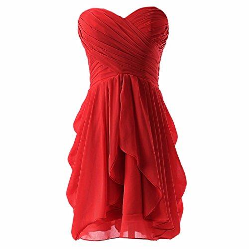 Damen Abend formale Kleid Partei Abschlussball Kugel kurzes Hochzeits Brautjungfer Kleid rot S