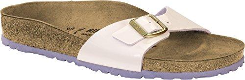 BIRKENSTOCK Damen Madrid Birko-Flor Pantoletten, Gr.-37 EU, Cream Pink Nubuk-textil