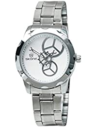 Skone 7355-1 Analog White Dial Stainless Steel Strap Wrist Watch / Casual Watch - For Men's