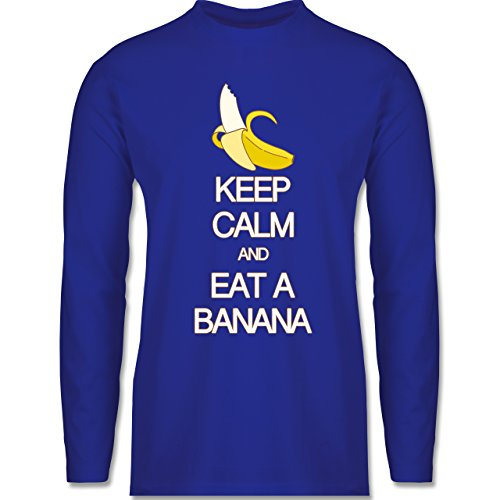 Shirtracer Keep Calm - Keep Calm and Eat a Banana - Herren Langarmshirt Royalblau