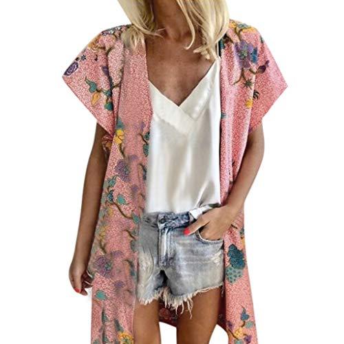 OrchidAmor Damen-Strickjacke, lockerer Sommerblumen-Druck, kurzärmelig - Pink - Groß Panhandle Cover