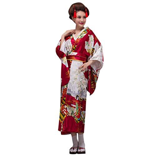 Lazzboy Frauen Print Kimono Traditionelles Japanisches Kleid Fotografie Cosplay Kostüm Kirschblüten Anime Japanischen Kleider Kleidung Halloween(Wein,One Size) (Satin Elvis Kostüm)