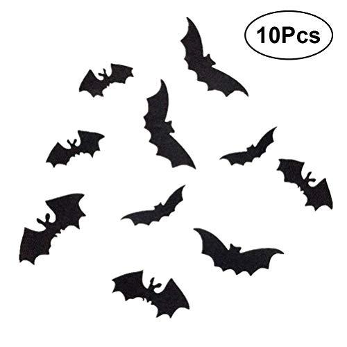 BESTOYARD Fledermaus Wandaufkleber Aufkleber 3D Black Bat Halloween Home Party Dekoration Wohnzimmer Schlafzimmer Entfernbare Wandaufkleber 10 STÜCKE (Schwarz)