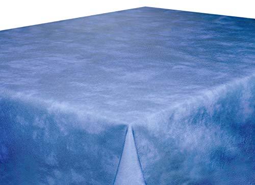 Tischdecke abwaschbar 160 cm rund blau meliert , sogar Ketchup lässt sich mühelos mit einem...