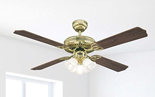 41CEXHrrZlL - Westinghouse Ceiling Fans 78171 Monarch Trio 132 cm Polished Brass Ceiling Fan, Light Kit with Frosted Glass
