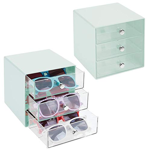 mDesign Aufbewahrungsbox für Sonnenbrille, Lesebrille, Zubehör, 3 Fächer Pack of 2 Mint/Clear