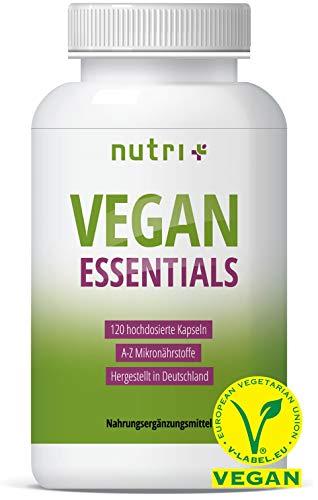 VEGAN ESSENTIALS 120 Kapseln - Complete Präparat für Veganer - Nutri-Plus Daily mit Vitamin B12, D3, Eisen, Selen, Omega 3 (DHA) - Mineralien & Vitamine hergestellt in Deutschland