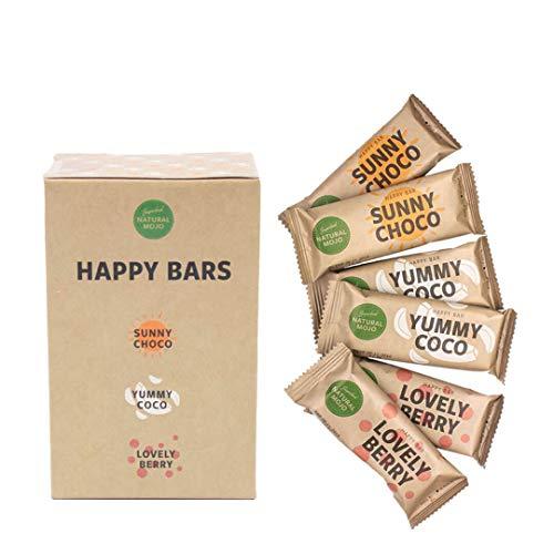 Natural Mojo Happy Bars - 6 Riegel vegan - Energieriegel mit wertvollen Antioxidantien und Vitaminen - 3 Sorten leckere Müsliriegel - Kokos, Schoko und Früchte