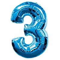 Amscan Super Shape Number 3 Balloon, Blue
