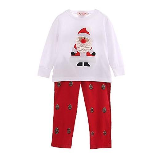 Toddler Bambini Babbo Natale Stampa Top Pantaloni Vestiti