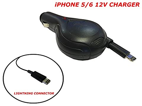 XtremeAuto® LIGHTNING CONNECTOR: iPhone 5 / 6, iPad, iPod in Car, 93CM RETRACTABLE LEAD, 12V Mobile Device, Travel Charger