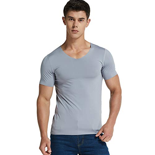Wellouis Men Ice Silk Quick Dry T-Shirt Short Sleeve V Neck Solid Color Seamless Breathable Top -