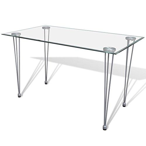 Anself Tisch Küchentisch Esszimmertisch Esstisch mit Glasplatte 120 x 70 x 75 cm
